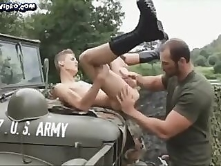 Gay marines fuck on the jeep outdoor gay