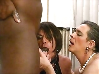 Two slut trannies getting fucked by BBC man (gay) big cock (gay) blowjob (gay)