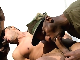 Interracial military hunks trio with prisoner gangbang (gay) gays (gay) group sex (gay)