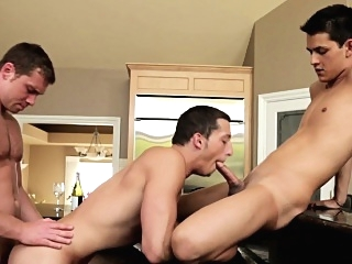 Threeway fucked cocksucker gets cum on ass blowjob (gay) gays (gay) hd gays (gay)