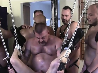 Biker bears raw fucking tight cub in hoist gays (gay) group sex (gay) hunks (gay)