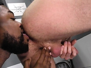 Whiteboi takes a huge black cock at a gloryhole asslick (gay) big cocks (gay) cumshot (gay)