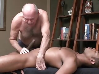 Grandpa enjoys a good cock big cock handjob locker room