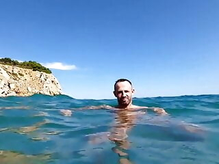 hot guys having horny fun in the ocean amateur handjob hunk