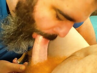 Red headed friend stops by for a blowjob. amateur bear big cock