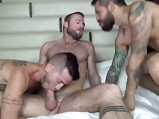 Aiden Hart, Draven Torres and Justin Case (VH P1) bareback group sex muscle