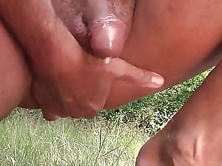 Prostate massage with massive precum -outdoor gay
