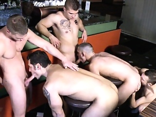 Gay group orgy fun from a european jock bar asslick (gay) blowjob (gay) facial (gay)