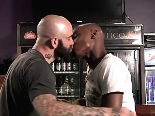Black hunk spitroasted by bearded inked god gangbang (gay) gays (gay) group sex (gay)