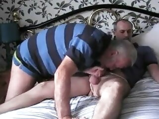 Anthony and friend play in Meryl's knickers amateur bear handjob
