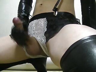 crossdresser masturbation in bunny lingerie amateur asian crossdresser